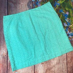 L.L.Bean Camden Eyelet Pencil Skirt Seafoam Green